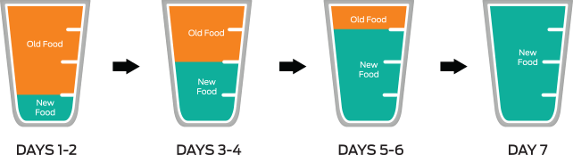 Cups showing gradual increase of new food and reduction of old food, every 1-2 days, up to 7 days
